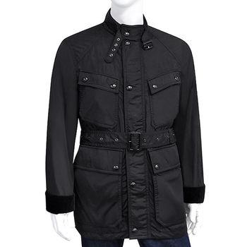BURBERRY 黑色輕量綁腰紳士風衣外套-US40號