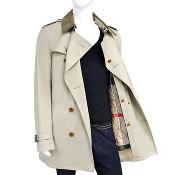 BURBERRY 卡其色雙排釦綁腰紳士長版風衣外套-M號