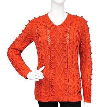 BURBERRY 橘色圓領針織長袖上衣-S號