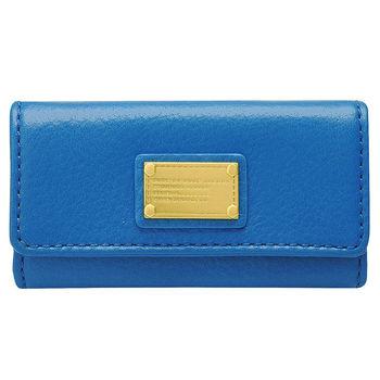 MARC BY MARC JACOBS 柔軟牛皮黃銅牌LOGO釦式鑰匙包(寶藍色)