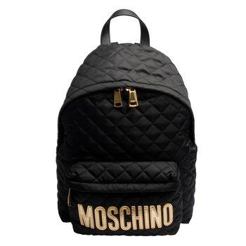 MOSCHINO菱格紋縫線金色LOGO尼龍後背包(黑)