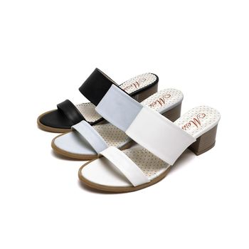 【Messa米莎專櫃女鞋】MIT韓風簡約氣質雙帶高跟涼拖鞋-三色