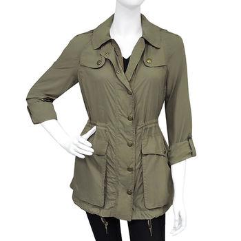BURBERRY 橄欖色連帽風衣外套-US 6號/8號