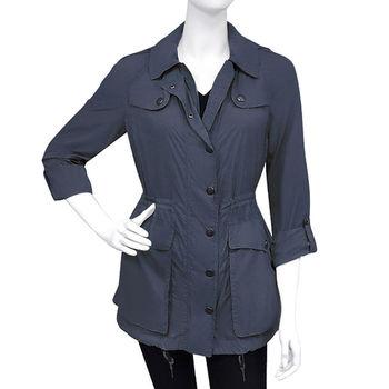 BURBERRY 藍色連帽風衣外套-US 6號