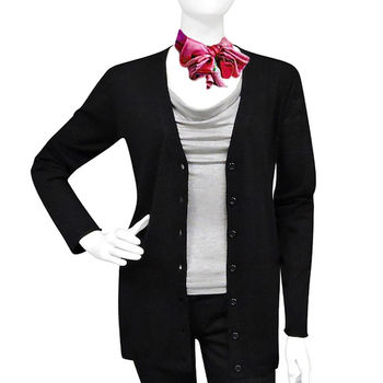 BURBERRY 黑色美麗諾羊毛V領長版針織衫開襟外套-L號