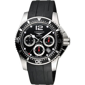 LONGINES 深海征服者300米潛水機械錶-黑x橡膠/41mm L37444562