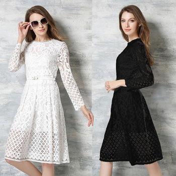 【理子時尚】波西米亞鏤空蕾絲長袖連衣裙(共二色)