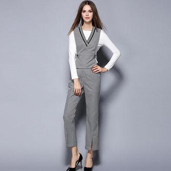 【M2M】OL風長袖上衣千鳥格紋背心褲裝三件套