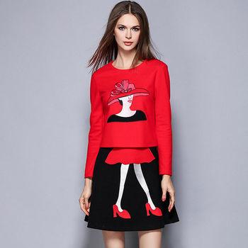 【M2M】毛呢刺繡圖案長袖上衣短裙兩件套