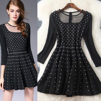 【M2M】圓領網紗拼接針織抽摺公主裙洋裝