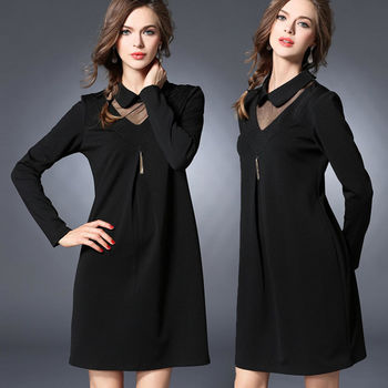 【麗質達人中大碼】優雅長袖洋裝(XL-5XL)