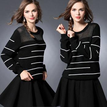 【麗質達人中大碼】條紋針織上衣(XL-4XL)