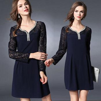 【麗質達人中大碼】蕾絲拼接洋裝(XL-5XL)
