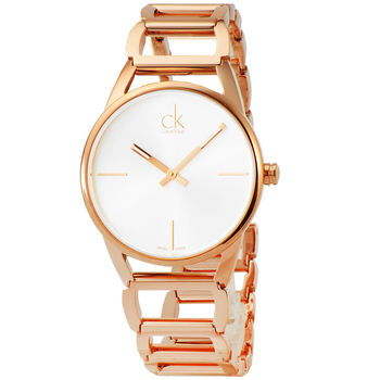 CK Calvin Klein Stately 時尚鏤空手環錶-玫瑰金 / K3G23626