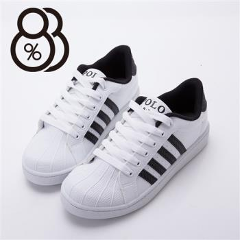 【88%】男款 皮革質感升級 貝殼頭基本款四線休閒板鞋 繫帶個性低筒運動鞋(2色)
