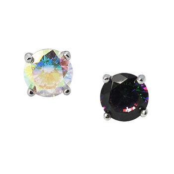 ART64 耳環 彩膜鑽 925純銀耳環 3mm(一對)