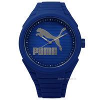 PUMA ^#47 PU103592015 ^#47 簡約線條休閒 矽膠手錶 藍色 45m