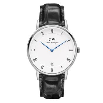 DW Daniel Wellington Dapper 時尚皮革腕錶-銀框/34mm(DW00100117)