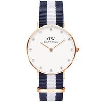 DW Daniel Wellington 施華洛世奇水晶藍白帆布腕錶 ^#45 金框 ^#
