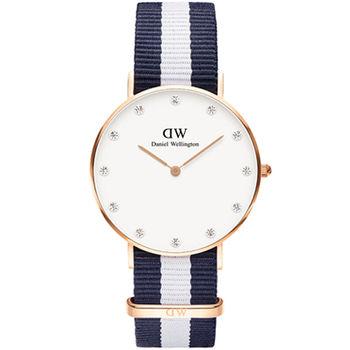 DW Daniel Wellington 施華洛世奇水晶藍白帆布腕錶-金框/34mm(0953DW)