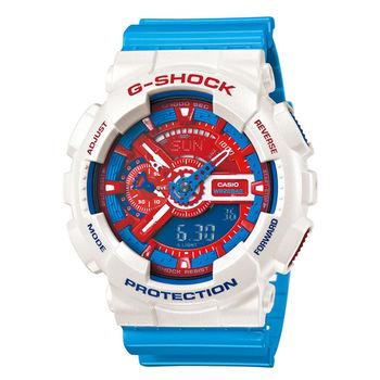 【CASIO】G-SHOCK 多層次潮流精密腕錶- 白/藍(GA-110AC-7A)