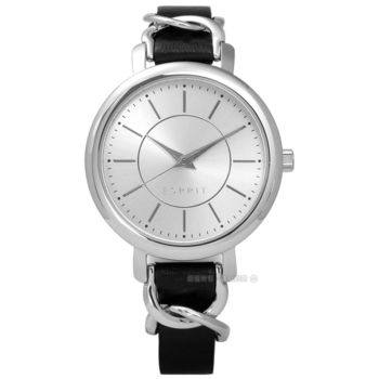 ESPRIT / ES109342001 / 環繞氣質名媛典雅質感真皮手錶 銀x黑 34mm