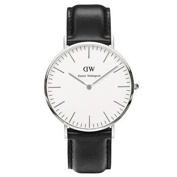 DW Daniel Wellington 簡潔紳士黑色皮革腕錶-銀框/40mm(0206DW)