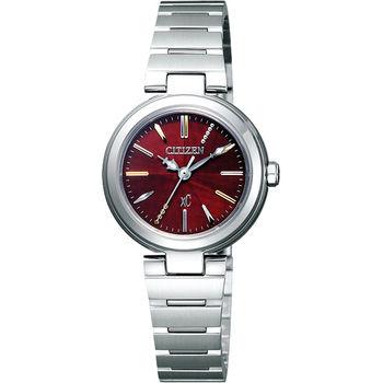 CITIZEN xC 優美風情時尚腕錶-紅x銀/25mm FE2020-66W
