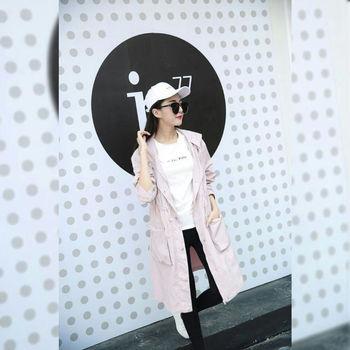 【JAR嚴選】韓版秋裝中長款大碼修身連帽風衣外套(3色可選)