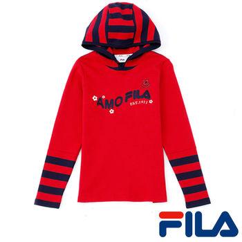 FILA女性條紋連帽上衣(熱情紅)5TEP-5210-RD