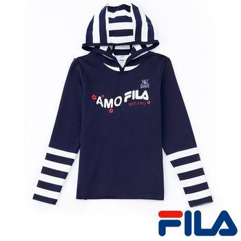 FILA女性條紋連帽上衣(學院藍)5TEP-5210-NV