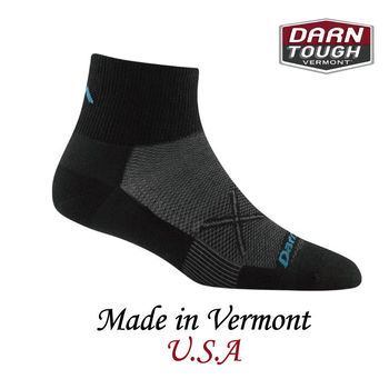 【美國DARN TOUGH】Vertax 1/4 Sock Ultra-Light Cushion跑步系列半筒襪 黑色-2入