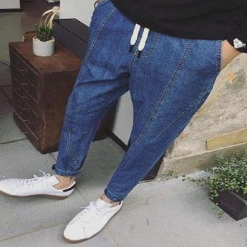 【協貿國際】日系男裝新品褲腳魔術貼設計小腳九分褲單件