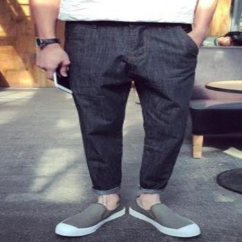 【協貿國際】日系復古大口袋設計牛仔低襠跨褲9分牛仔褲男單件