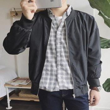 【協貿國際】日系棒球服外套男士韓版修身亮面糖果色夾克單件