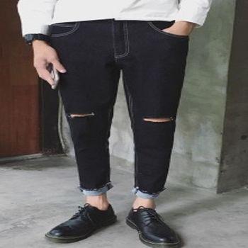【協貿國際】破洞牛仔褲男士長褲修身小腳褲黑色顯瘦潮流褲單件