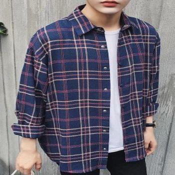 【協貿國際】時尚格子襯衫寬鬆型休閒長袖襯衣男單件