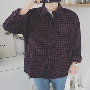 【協貿國際】時尚經典小格子寬鬆版長袖襯衫男士韓版襯衣單件