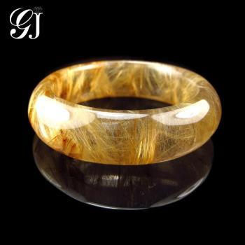 [晉佳珠寶] Gemdealler Jewellery 天然鈦晶手鐲 #18 淡茶底金黃板絲 厚實寬版