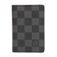 LV N63143 Damier棋盤格折疊萬用收納袋裝卡夾 ^#47 錢包 ^#40 黑灰