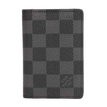LV N63143 經典Damier棋盤格折疊萬用收納袋裝卡夾/錢包(黑灰色)