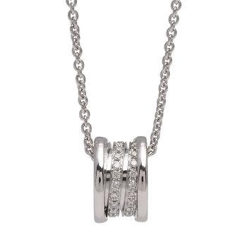BVLGARI 寶格麗B.ZERO1經典18K白金三環鑲鑽項鍊(銀)