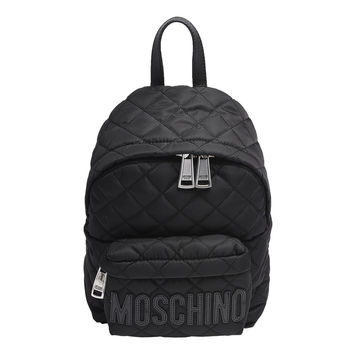 MOSCHINO 經典菱格紋縫線黑色LOGO尼龍後背包(小_黑)