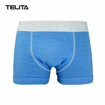 TELITA-男性內褲 素色運動平口褲 亞麻藍