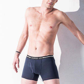 MORINO-男內褲 抗菌防臭四角褲/平口褲(丈青)