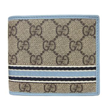 GUCCI PVC雙色直紋短夾(卡其藍)
