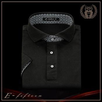【衣十五 E-fifteen E15】POLO衫-商務系列/菱格黑/吸濕排汗POLO衫  台灣製造