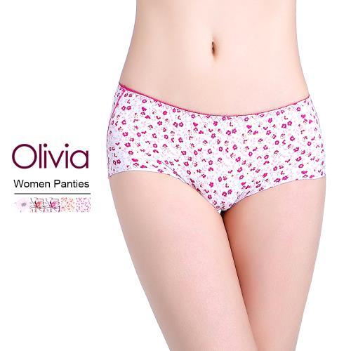 【Olivia】冰絲無痕印花女性內褲 (碎花玫紅)
