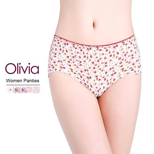 【Olivia】冰絲無痕印花女性內褲 (碎花大紅)