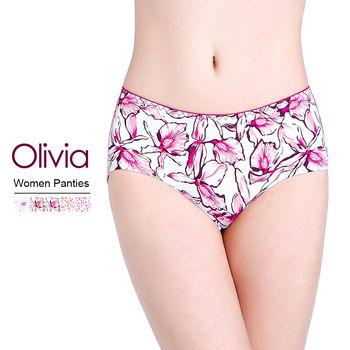 【Olivia】冰絲無痕印花女性內褲 (大花玫紅)